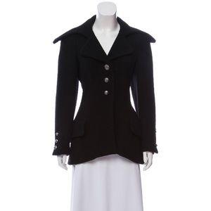 Chanel 08A wool black coat lion head button 40